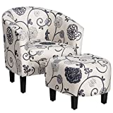 Safstar Accent Chair and Ottoman Set, Modern Accent Single Sofa, Upholstered Arm Chair with Footstool for Living Room Bedroom Study