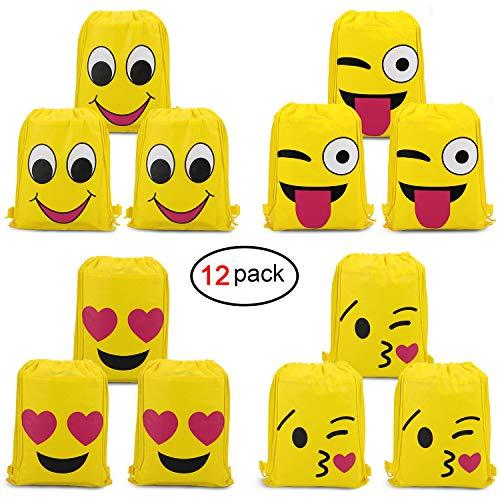 Emoji Bags for Emoji Party Supplies(12Pack),Konsait Emoji Drawstring Backpack Shoulder Bag Bulk Assorted Emoticon Party for Boys Girls Kids Birthday Candy Baby Shower Emoji Party Favors Gift