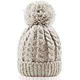 Women's Winter Beanie Warm Fleece Lining - Thick Slouchy Cable Knit Skull Hat Ski Cap (Cream)