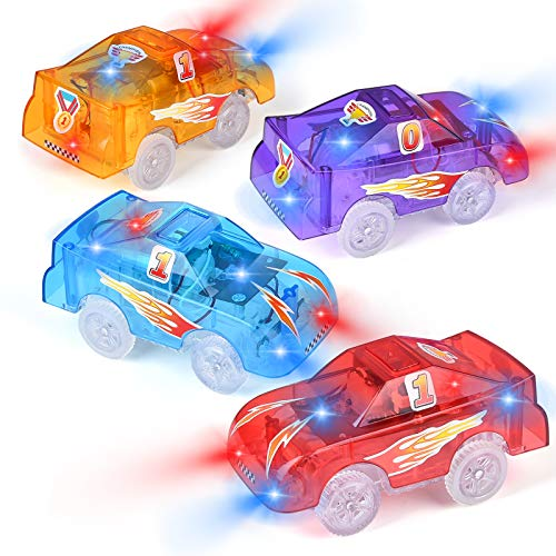 Tracks Cars Replacement Only, Funkprofi Light Up Toy Cars for Tracks, 5 LED Flashing Lights, Compatible with Most Tracks, Toy Gifts for Boys and Girls (4 Pack)