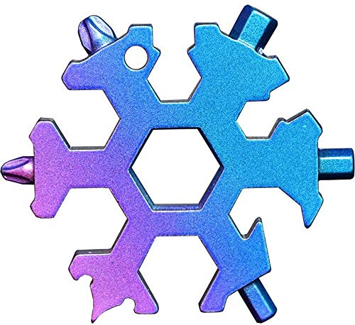 18 en 1 copo de nieve, herramienta de múltiples bolsillos, portátil, para camping, copo de nieve, al aire libre, tarjeta de snowboard, llavero, destornillador, abrebotellas, llave hexagonal llavero