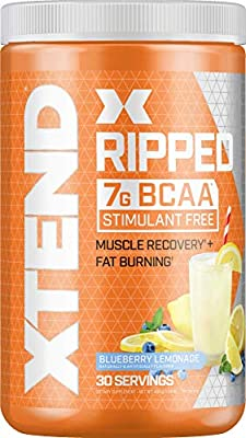 XTEND Ripped BCAA Powder Blueberry Lemonade | Cutting Formula + Sugar Free Post Workout Muscle Recovery Drink with Amino Acids | 7g BCAAs for Men & Women | 30 Servings