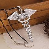 Phetmanee Shop Fashion Percy Jackson Angle Wings Magic Wand Vintage Caduceus Pendant Necklace