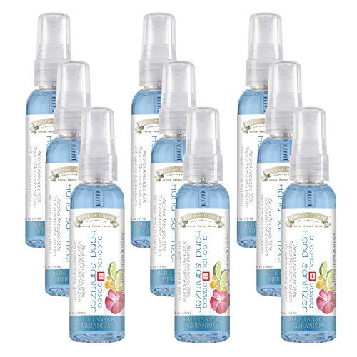 Balm of Gilead Hand Sanitizer Spray, Blue Tansy & Geranium, 80% Alcohol | SAFE + EFFECTIVE + MOISTURIZING | 2 oz Spray Bottle, Mini Travel Size Hand Sanitizers, Liquid, Pack of 9