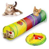 猫トンネル、Andiker 猫トンネルペットチューブ折りたたみプレイ玩具屋内屋外玩具パズル運動隠しトレーニングと楽しいボール(25 * 120 cm) (マルチカラー)