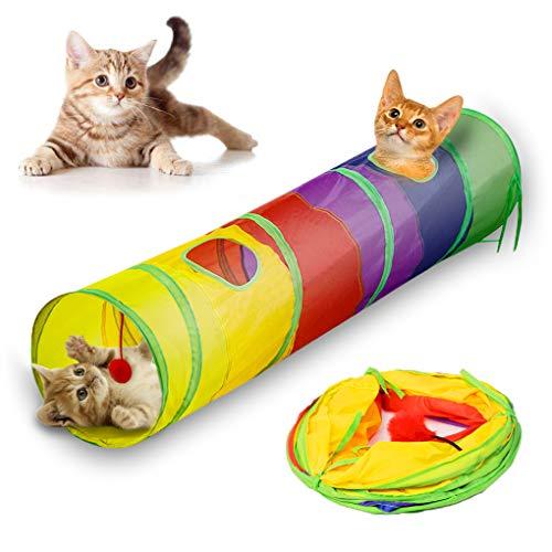 Andiker kat tunnel, huisdier tunnelbuis inklapbaar speelgoed binnen outdoor speelgoed voor puzzel oefeningen verbergen training en hardlopen met leuke bal en 2 gaten, Kleurrijk