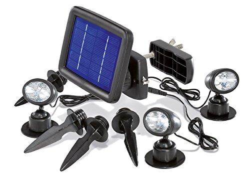 BUV-Handel BUVTEC Solarleuchte - Solarspot Trio mit DREI Spots schwarz und 2 zusätzlichen Verlängerungskabeln je 5 m esotec