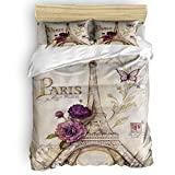 Floral Paris Eiffel Tower Butterfly Vintage Stamp Comforter Cover Set Queen Size 4 Pieces Soft Bedding Sets with 1 Comforter Cover 1 Bed Sheets 2 Pillowcases, All Season Lightweight Duvet Cover Set