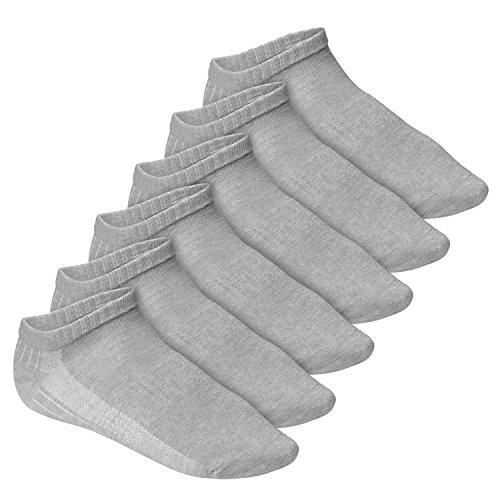 Footstar Herren und Damen Fitness Sneaker Socken (6 Paar), Mesh-Strick, OEKO-TEX - Grau 39-42