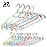 Senfhome Plastic Clothes Hanger, Extra Thick Plastic Wide Shoulder Adult 360 Degrees Rotate Slip Resistant Standard Clothing Hanger Ideal for Everyday Use(20 Pack 4 Color)