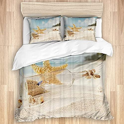 ATZTD Juego de ropa de cama - Funda de edredón, diseño de estrella de mar de la deriva de la botella de arena, 200 x 200 con 2 fundas de almohada de 80 x 50, doble