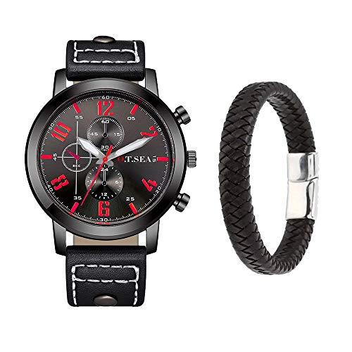 Souarts Herren Armbanduhr Geschenkset Männer Analog Quarzuhr Uhr Retro Kunstleder Armband Herrenuhr mit Kleine Deko Zifferblatt