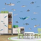 35 adhesivos de pared en 3D, diseño de tiburón para habitación infantil, decoración de pared bajo el mar y animales marinos para niños, dormitorio, cuarto de baño, azulejos de salón