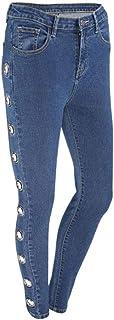 RXF Jeans Europeos y Americanos Pantalones Rectos Azules Atractivos de Las Mujeres Largos Hebilla Hueca (Color : Azul, Tam...