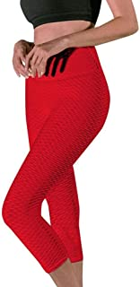 Jinqiuyuan Women's Seven Points Yoga Pant Printing Hip High Waist Running Sports Pants Training Gym Fitness Pants Seamless Leggings (Color : Red, Size : M)