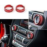 L&U Innenraum Sprachlautstärkeregler Tune Knob Switch Cover Dekoration Ring Trim für Ford Mustang 2015-2018,Red