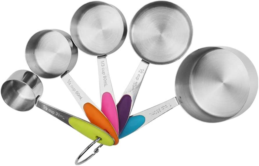 Lot de 5 cuill/ères doseuses et cuill/ères en acier inoxydable avec poign/ée en silicone pour la cuisine et la p/âtisserie