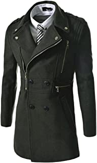 ZongSen Men's Herringbone Lapel Slim Fit Suit Casual Blazer Zipper Jacket Coat
