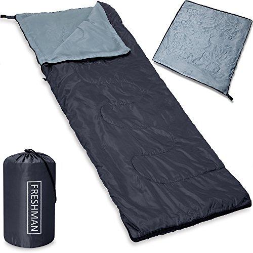 Monzana Schlafsack Deckenschlafsack 190x75 cm Freshman Sommerschlafsack -6°C Mumienschlafsack wasserabweisend anthrazit