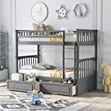 Bunk Beds for Kids, Twin Over Twin Bunk Bed with 2 Drawers, Convertible Wooden Bed Frame with Safety Rail Ladder, Teens Bedroom Bed, Guest Room Furniture, Grey
