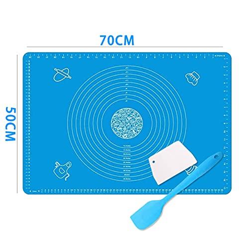 Nifogo Tapete de Silicona, Tapete de Silicona para Hornear, para Hornear Baking Mat Grande Antiadherente 70 x 50 cm(Azul)