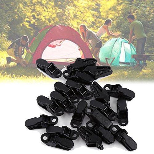 20 Stück Planenhalter Clips, Tarp Clips Planenklammern schwarz Zeltclips Campingzelt Clip, geeignet