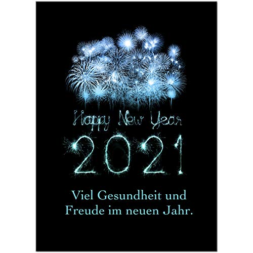 15 x Neujahrs-Karten (blaues Feuerwerk) im Postkarten Format mit Umschlag/Weihnachten/Sylvester / 2021 / Neues Jahr/Silvester