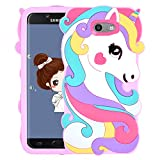 Allsky Case for Samsung Galaxy J3 Emerge/J3 Prime/J3 Mission/J3 Eclipse,Cartoon Soft Silicone Cute 3D Cool Cover,Kawaii Unique Kids Girls Teens Animal Character Cases for Galaxy J3 2017 Vivid Unicorn