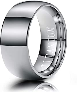Jewelry Pilot 8mm Grooved Classic Domed Black Rubber Inlay Brushed /& Polished Finish Titanium Wedding Band