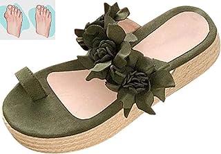 Summer Sandal Women's Wedge Hemp Rope Flower Flat Sandals Toe Correction Open Toe Sandals Lightweight Beach Shoe,Green,36EU