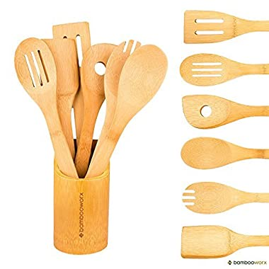 BambooWorx- Multi-Color Bamboo Cooking Utensils Set- 6 Pieces, Wooden Spoons & Spatulas, Kitchen Utensils, ♻ 100% Natural Bamboo.