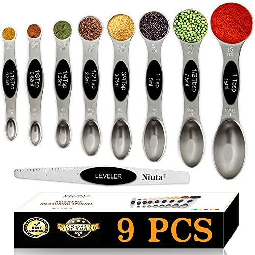 NIUTA Magnetic Measuring Spoons Set of 9 Stainless Steel Stackable Dual Sided Teaspoon Tablespoon for Measuring Dry and Liquid Ingredients-Black