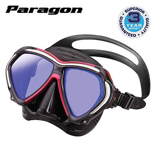 TUSA Paragon tauchmaske Taucherbrille Adulti Professionale UV Filtro correzione vetri ottici Compatibile, Nero/Rosso