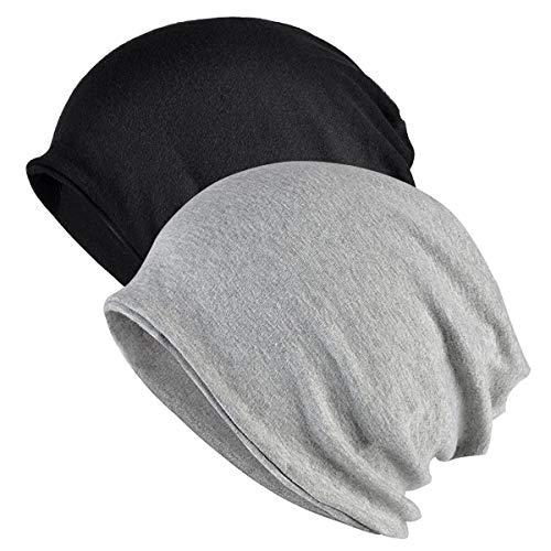 Gebell Chemo Sombrero para mujer – Algodón Chemo Sombrero Suave Slouchy Beanie Gorro Chemo Turbante para mujer, Gris + negro., Talla única