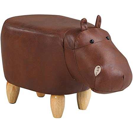 Brown Faux Leather Hippo Footstool Animal FootStool Ottomans Child Toy Gift Home
