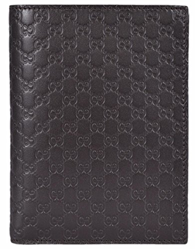 Gucci Men's Leather GG Guccissima Passport Holder Bifold Wallet (Brown)