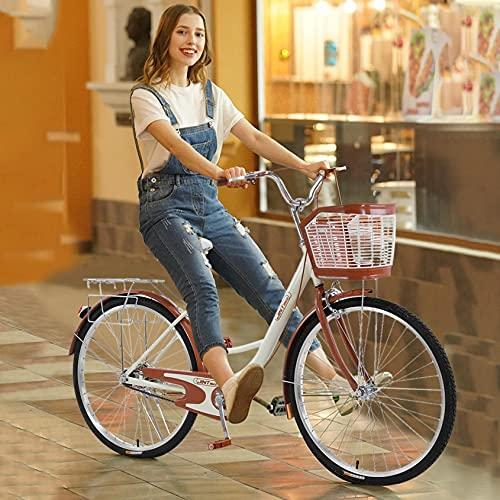 【US Stock】 ComCune Womens Beach Cruiser Bike with Bascket - 26-Inch Womens Comfort Bikes Classic Retro Bicycle Beach Cruiser Bike Single Speed Bicycle Comfortable Commuter Bicycle