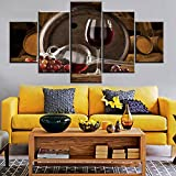 Mookou Red Wine Gemälde auf Leinwand, HD 60''Wx32''H