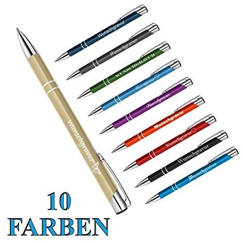 polar-effekt 1 Metall Oleg Kugelschreiber mit Gravur des Namens - Personalisierte Geschenkidee Mitbringsel - blau schreibend - Farbe Gold