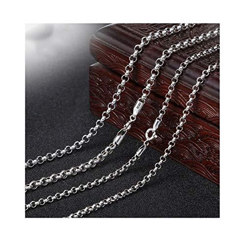 AueDsa Collar de Plata de Ley Hombre,Collar para Hombre de Plata Cadena de Curb 3MM Longitud 65CM