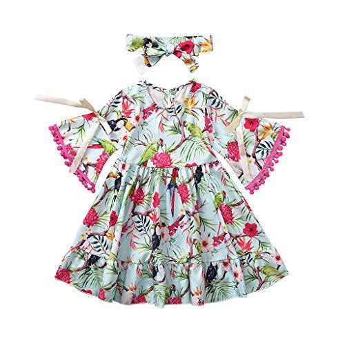 Julhold Peuter Baby Meisjes Mode Elegante Flare Sleeve Bloemen Birdie Print Kassen Katoen Slanke Jurk Kleding 0-4 Jaar
