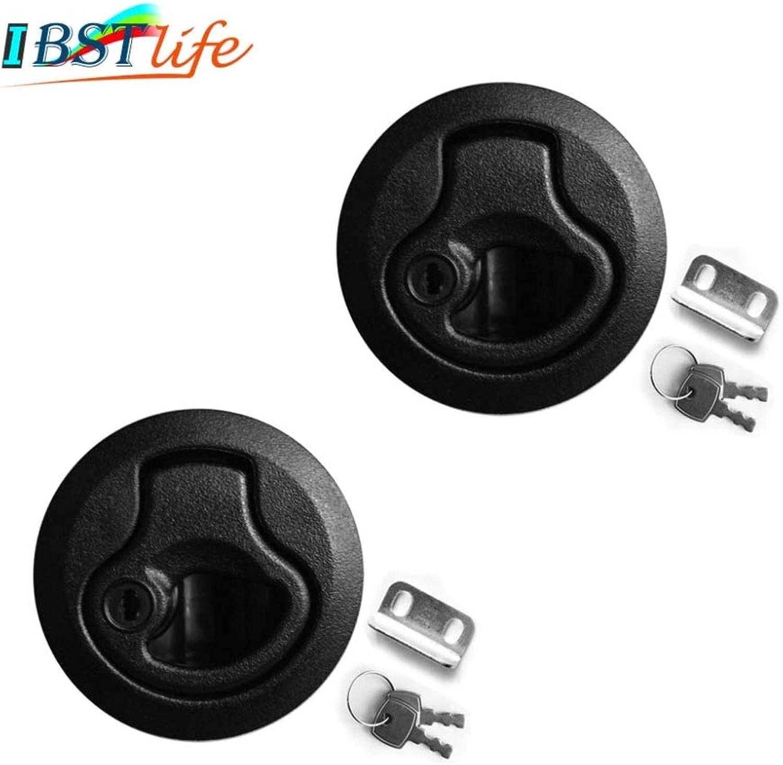 2PCS Black Locking Lift Handle Deck Hatch Flush Pull Latch with Key can Locking Marine Hardware Yacht Parts Accessories