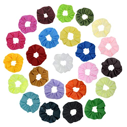 24 Pack Candy Color Cloth Scrunchies Women Elastic Hair Ties