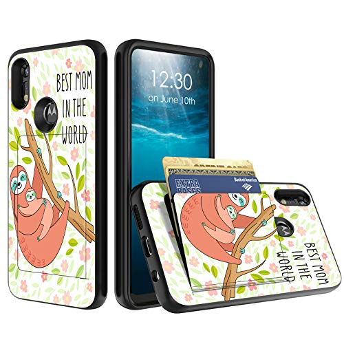 for Moto E 2020 Phone Case, BEROSET Credit Card Holder Wallet Dual Layer Full Body Shockproof Protective Phone Case Cover for Motorola Motorola Moto E 2020,Best Mom in The World Sloth