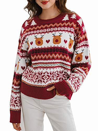 BerryGo - Maglione da donna a maniche lunghe, con renna di Natale - rosso - 40-42