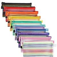 JARLINK 40パック 10色 ジッパーメッシュポーチ 鉛筆収納ポーチ 多目的旅行バッグ オフィス用品 化粧品旅行アクセサリー マルチカラー