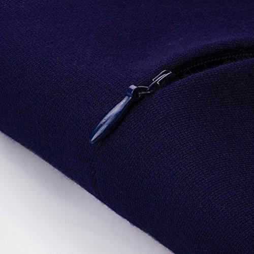 Homeyee Frauen elegante dunkelblaue Knopf Hülsen-dünne Abend-Partei-Geschäfts, figurbetontes Kleid B329 (EU 36 = Size S, Dunkelblau) - 5