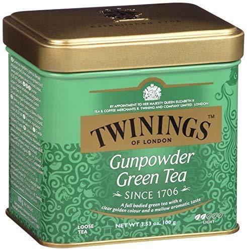 Twinings of London - Grüner Gunpowder Tee - Grüner Tee in Strängen - Ideal für Ihre Entspannungsmomente - 100 Gramm