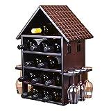 Estante de Vino práctico Protección del Medio Ambiente Estante de Vino de casa de Madera Decoración Estante de Vino de Regalo para el hogar Seguro y Estable - 12 Botellas - con portavasos (Color: BR