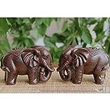 Homyl Asiatische Glückliche Glückselefanten Holzelefant Elefant Figur Holzfigur Tischdeko Geschenk - 5